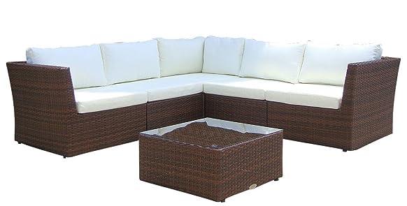 Baidani Gruppo sedute da giardino di design Atmosphere, 1 Divano ad angolo, 1 Tavolo con copertura in vetro, 2 Set di rivestimenti, Marrone