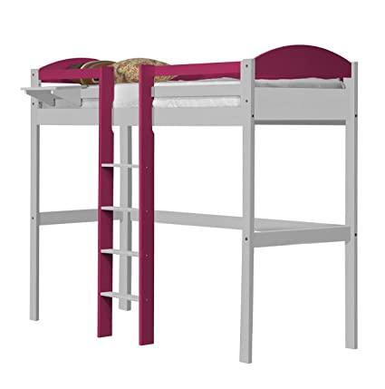 Design Vicenza Maximus High Sleeper Central Ladder White With Fuschia Details