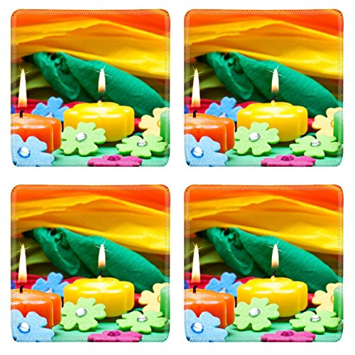 Liili Square Coasters IMAGE ID 17469552 colorful background of candles flowers and crepe paper (Crepes Paper Holder compare prices)