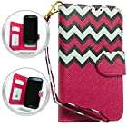 HJ POWER[TM] Nokia Lumia 521 Windows Phone 8 Leather PU WALLET POUCH Cover + [Free HJ POWER Stylus] WPUNI-Chevron Hot Pink