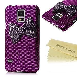Mavis's Diary New 3D Handmade Luxury Dark Purple Bow Bling Purple Case Cover for Samsung Galaxy Series with Soft Clean Cloth (Samsung Galaxy S5 i9600)