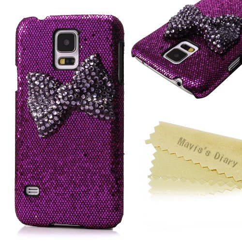 Mavis'S Diary New 3D Handmade Luxury Dark Purple Bow Bling Purple Case Cover For Samsung Galaxy Series With Soft Clean Cloth (Samsung Galaxy S5 I9600)