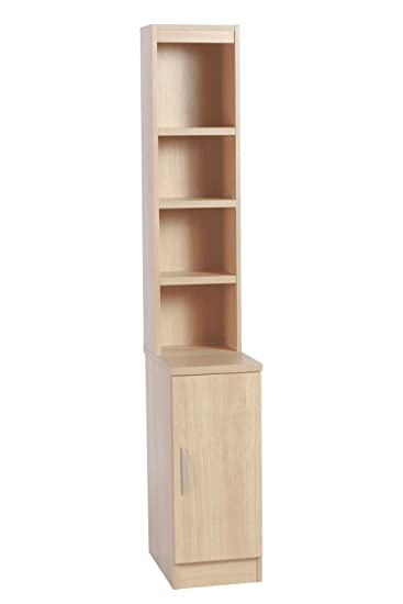 Home Office Furniture UK B-C30-OB-IN-BE Cupboard Small Narrow Bookcase with Door Hutch, Wood, Beech, Wood Grain Profile