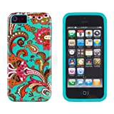 DandyCase 2in1 Hybrid High Impact Hard Vintage Floral Pattern + Teal Silicone Case Case Cover For Apple iPhone 5S & iPhone 5 (not 5C) + DandyCase Screen Cleaner