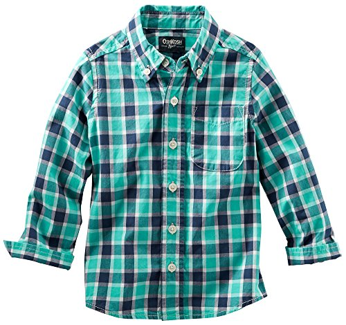 Oshkosh Little Boys Teal Plaid Poplin Shirt 6 Teal front-1043394