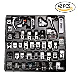 NABLUE 42Pcs Domestic Sewing Machine Presser Foot Feet Kit Set,Fits for Brother, Baby lock, Singer, Elna, Toyota, New Home, Simplicity, Janome, Kenmore, and White Low Shank Sewing Machine