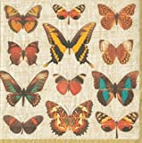 Entertaining with Caspari 12240L Deyrolle Butterflies Napkin Luncheon, Ivory, 20-Pack
