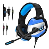 ONIKUMA Gaming Headset - Gaming Headphone for PS4, Xbox One, PC, Stereo USB Headset with Noise Cancelling Mic and LED Light, Over Ear Headphones for Mac and Nintendo Switch Games (Color: blue)