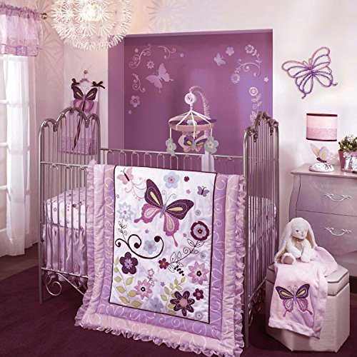 Lambs & Ivy Crib Bedding Set And Bumper (Butterfly Lane) front-1048527