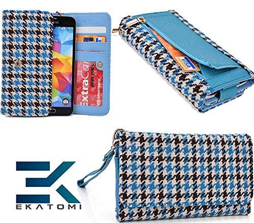 Retro Metro Baby Blue & Black |Ekatomi™ Compatible W/ Blackberry Z30 Wristlet Phone Case Holder front-1059134
