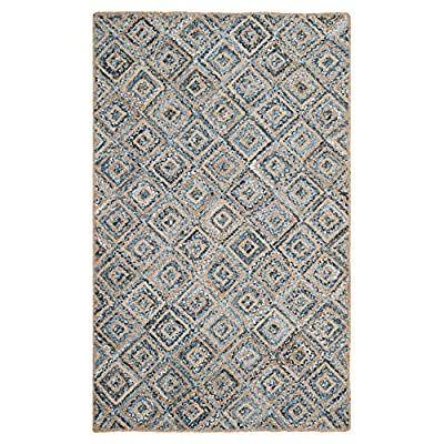 Safavieh Cape Cod Collection CAP354A Hand Woven Natural and Blue Cotton Area Rug