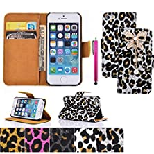buy S4 Case, Jcmax Leopard Bow Pattern Super Slim Pu Leather [Card Pockets] [Build In Stand] Impact Absorption With Lightweight Skin For Galaxy S4 - White