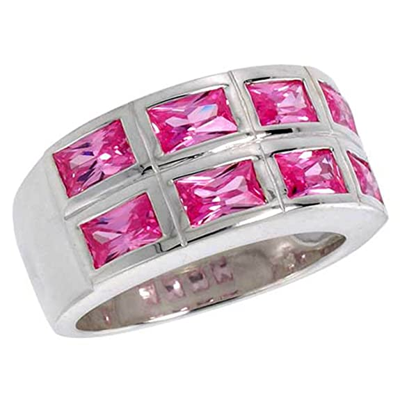 Revoni Sterling Silver Double Row Emerald Cut Pink Tourmaline Colored CZ Ring (Available in Sizes L to T)