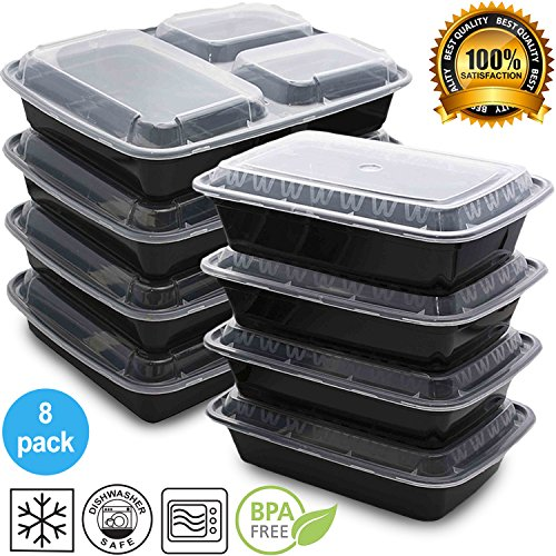 Mixed Meal Prep Containers Set - Bento Lunch Boxes / Restaurant Food Storage - Portion Control - 8pk
