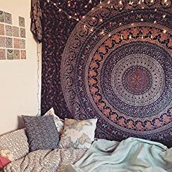 Labhanshi Hippie Tapestry, Hippy Mandala Bohemian Tapestries, Indian Dorm Decor, Psychedelic Tapestry Wall Hanging Ethnic Decorative Tapestry, 85 X 55 Inches (Multi Color)