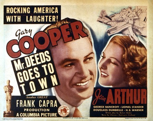 Gary Cooper And Jean Arthur In Mr. Deeds Goes To Town 11X14 Lobby Card Reproduction