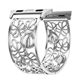 Apple Watch Band 38mm Women, Breathable Floral iWatch Replacement Strap, Sport Wristband for Apple Watch Nike+, Series 1, Series 2, Series 3, Sport, Edition by Fresheracc(Silver) (Color: 38mm Silver, Tamaño: Normal)
