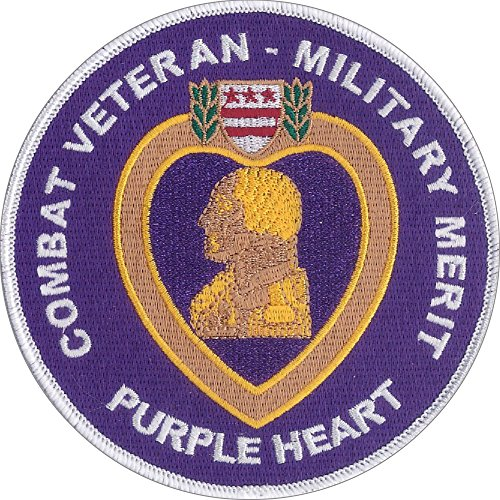 """Us Military Purple Heart Embroidered Patch 4 1/2"""" Diameter - Highly Detailed Embroidered Patch - White Merrowed Edge - Wax Backing Awarded By United States Armed Forces"""