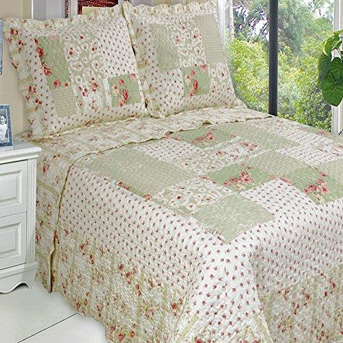 Chic Shabby Roses Lightweight Oversized Quilt Coverlet Set King front-962103