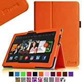 Fintie Slim Fit Leather Cover Folio Case Cover for 8.9 inch Amazon Kindle Fire HDX - Orange