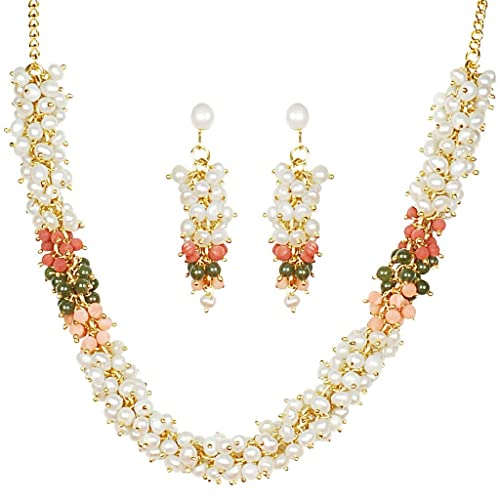 Classique Designer Silver Alloy With Gold Plated Button Pearl Necklace Set For Women(CP216) at amazon