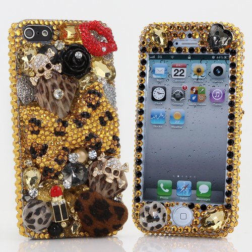 Great Price BlingAngels® 3D Luxury Bling iphone 5 5s Case Cover Faceplate Swarovski Crystals Diamond Sparkle bedazzled jeweled Design Front & Back Snap-on Hard Case (100% Handcrafted by BlingAngels) (Large Leopard Bow Design)