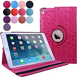 iPad Pro 9.7 Case (2016), Aoways Luxury 360 Degree Rotating Stand Series Smart Defender Cover Case for Apple iPad Pro 9.7 inch ,with Auto Sleep / Wake Feature Leather case Cartoon ROSE RED