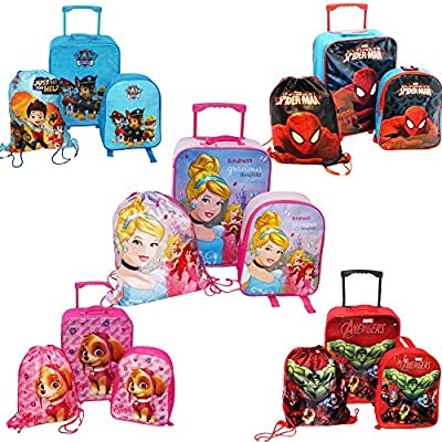 Disney KIDS BOYS GIRLS CABIN TROLLEY CASE SET WHEELED BAG SUITCASE HAND LUGGAGE