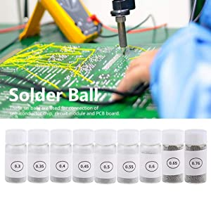 Tin Solder Ball BGA Lead-Free Reballing Soldering Heat Universal Stencil Balls for GPU CPU IC Chip PCB(9 Bottles 0.3mm-0.76mm)