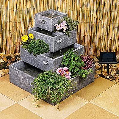 Ambiente 4-Tier Cascade Solar Water Feature Planter from Primrose