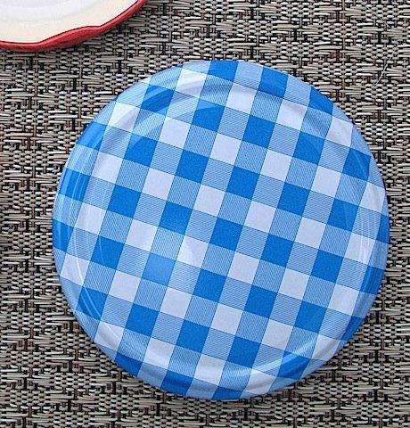 Caps-Deckel Marmeladenglas Deckel 82mm Karo blau