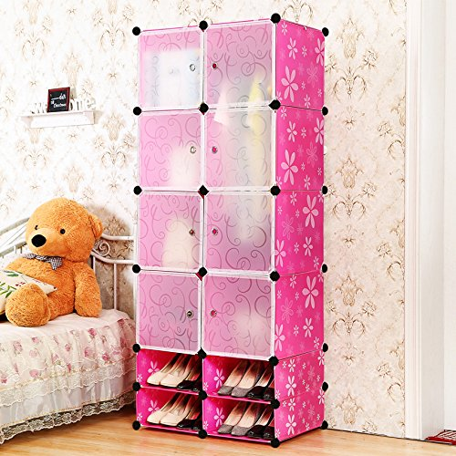 C&AHOME - 12 Cubes Clothes Closet & Cube Shoe Rack, Rose (Clothes Organizer For Kids compare prices)
