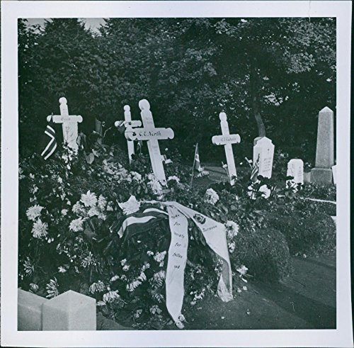 Vintage photo of 1942 British flier's grave in Bergen, Norway. (British Bergen compare prices)
