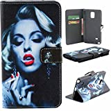 Note 4 Case,Vogue Shop Note 4 Wallet Case [Book Fold] Leather Galaxy Note 4 Cover [Flip Cover] with Foldable Stand, Pockets for ID, Credit Cards - Black Flip Case for Samsung Note 4 .Protective Samsung Galaxy Note 4 PU Leather Wallet Case with Foldable Kickstand and HD Screen Protector for Galaxy Note 4 Folio with Stand All-around TPU Inner Case and Snap Button Closure Stylish Pattern Design for Note 4 (Vogue shop-Sexy Girl)
