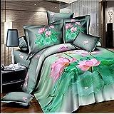 king size home textile 3d bedding sets the Fresh Lotus leaf 4 pcs bed sets , duvet cover bed sheet pillow case...