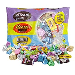 Egg Hunt Candy Mix | Hershey Kisses Milk Chocolate, Reeses Peanut Butter Cups, Krackel with Crisped Rice, Mr Goodbar and Hershey Special Dark Miniatures | 1 LB 2 Oz | Easter Treats and Spring Gifts.