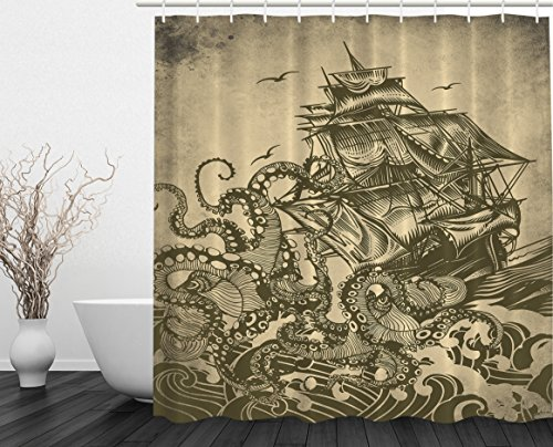 Ocean Shower Curtain Sail Boat Waves and Octopus Kraken Tentacles Country Decorations for Bathroom Sepia Print Polyester Fabric Shower Curtain, Yellow Olive (Shower Curtains Modern compare prices)