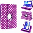 """MOBILESFOR YOU� 360�ROTATING CASE COVER FOR SAMSUNG GALAXY TAB 3 10.1"""" P5200 P5210 P5220 TAB.3 WITH FREE SCREEN PROTECTOR & STYLUS PEN (PURPLE WITH POLKA DOTS)"""