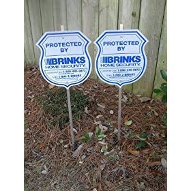2 Brinks Yard Security Signs with Stickers