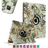 Fintie Apple iPad 2/3/4 Case - 360 Degree Rotating Stand Smart Case Cover for iPad with Retina Display (iPad 4th Generation), the new iPad 3 & iPad 2 (Automatic Wake/Sleep Feature), Z-Map Design
