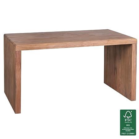 WOHNLING Schreibtisch Massiv-Holz Akazie Computertisch 140 cm breit Echtholz Design Ablage Buro-Tisch Landhaus-Stil Natur-Produkt Buro-Möbel dunkel-braun Modern Buroeinrichtung rechteckig 76 cm hoch