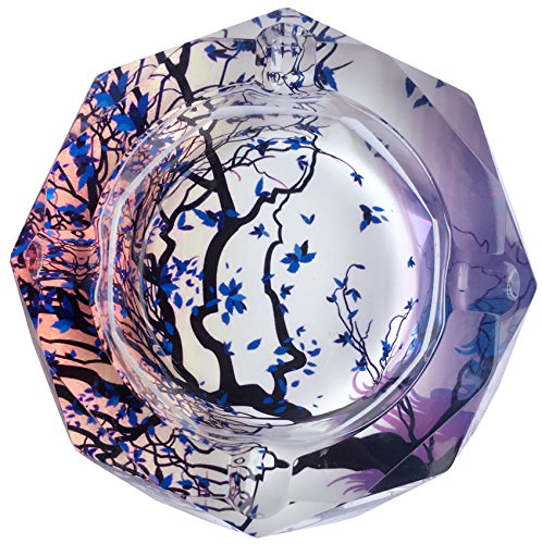 Tree Of Life Pattern Crystal Cigarette Ashtray , Home Office Tabletop Beautiful Decoration Craft (large)