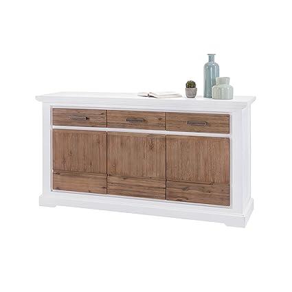 Sideboard Akazie Massivholz Weiß / Braun 166 cm Kommode Anrichte im Landhausstil