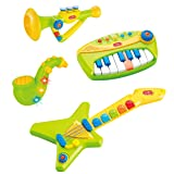 Liberty Imports 4-Piece Band Musical Toy Instruments Playset for Kids - Keyboard, Guitar, Saxophone and Trumpet - with Volume Control (Green) (Color: Green)
