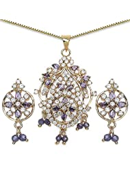 14.10 Grams Purple Cubic Zirconia & White Cubic Zirconia Gold Plated Brass Pendant Set