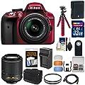 Nikon D3300 Digital SLR Camera & 18-55mm G VR DX II AF-S (Red) with 55-200mm VR II Lens + 32GB Card + Shoulder Bag + Battery + Charger + Tripod Kit