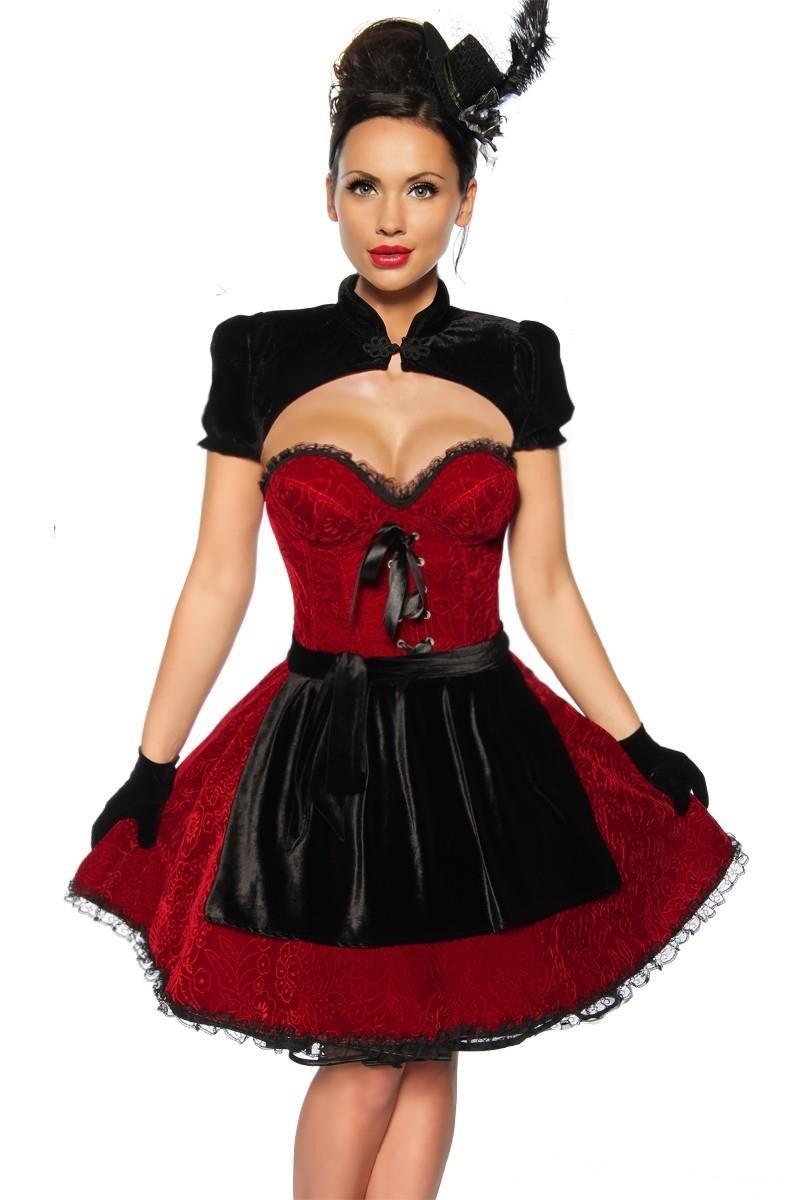 Hochwertiges Dirndl aus Samt in Rot-schwarz, Oktoberfest-Kleid mit Corsagen-Oberteil, Gr. XS-XXL online kaufen