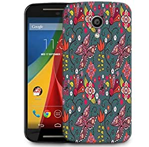 Snoogg Seamless Pattern With Butterflies And Flowers Designer Protective Phone Back Case Cover For Motorola G 2nd Genration / Moto G 2nd Gen