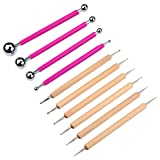 Meuxan 10 Piece Ball Stylus Dot Painting Tool Set, Clay Pottery Modeling Kit (Color: Rose Red, Wooden)