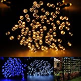 Brightown Outdoor Solar String Lights 55ft/17m 100 LED, Put under sunshine and store energy during the day, and it lights up Automatically at night, Perfect for Gardens, Patio, Lawn, Porch, Gate, Yard, Trees, Homes, Christmas Party, Color Warm White